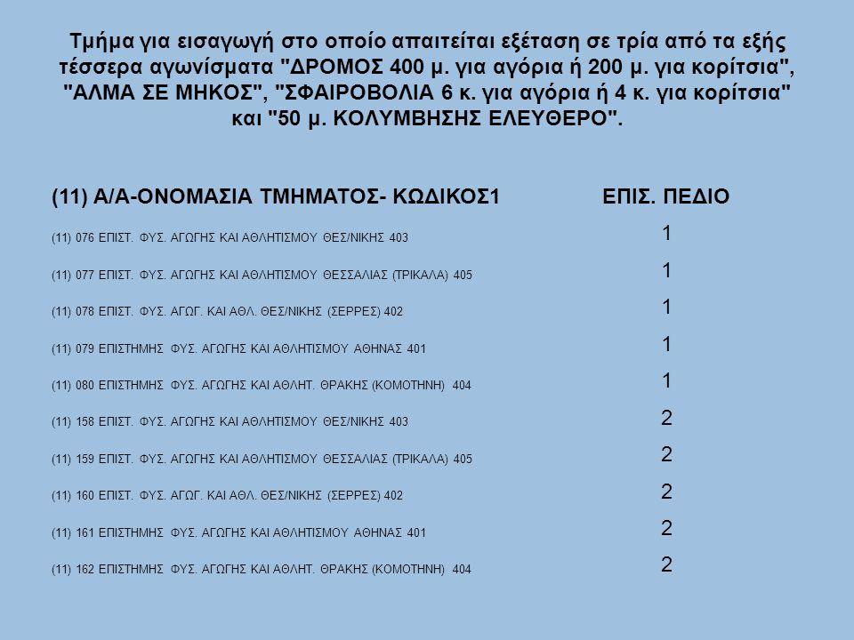 (11) Α/Α-ΟΝΟΜΑΣΙΑ ΤΜΗΜΑΤΟΣ- ΚΩΔΙΚΟΣ1 ΕΠΙΣ. ΠΕΔΙΟ 1