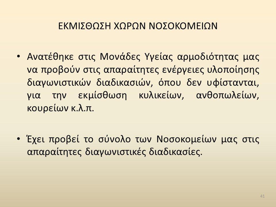 ΕΚΜΙΣΘΩΣΗ ΧΩΡΩΝ ΝΟΣΟΚΟΜΕΙΩΝ