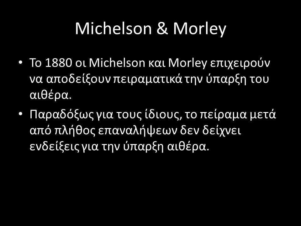 Michelson & Morley Το 1880 οι Michelson και Morley επιχειρούν να αποδείξουν πειραματικά την ύπαρξη του αιθέρα.