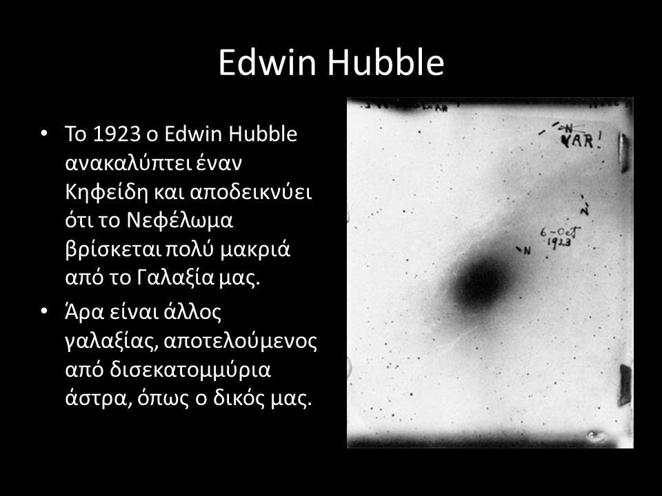 Edwin Hubble Το 1923 ο Edwin Hubble ανακαλύπτει έναν Κηφείδη και αποδεικνύει ότι το Νεφέλωμα βρίσκεται πολύ μακριά από το Γαλαξία μας.
