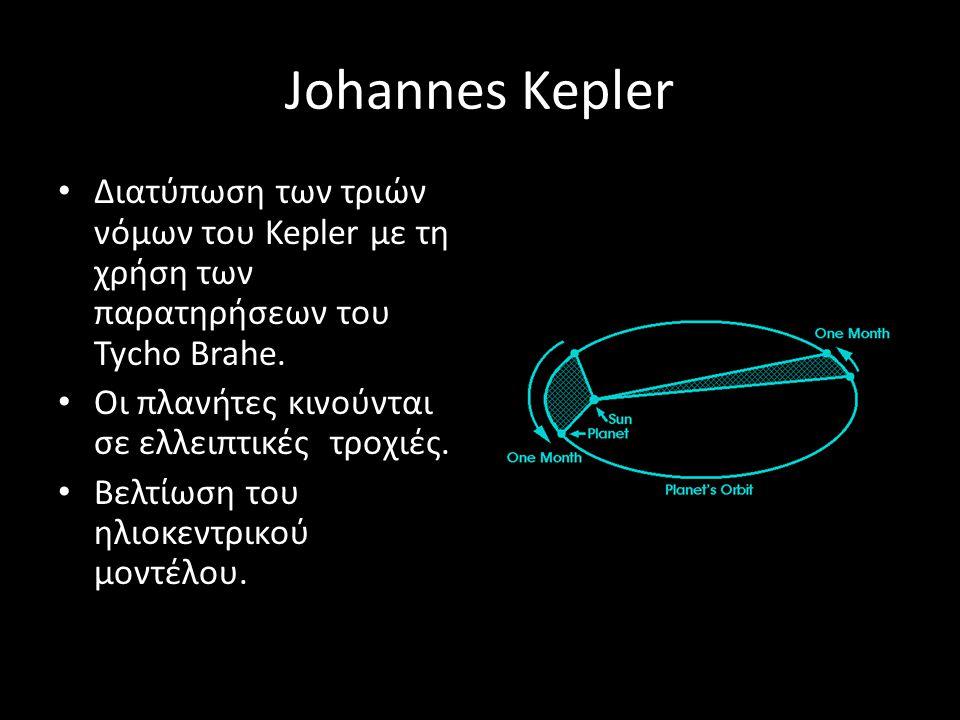 Johannes Kepler Διατύπωση των τριών νόμων του Kepler με τη χρήση των παρατηρήσεων του Tycho Brahe. Οι πλανήτες κινούνται σε ελλειπτικές τροχιές.