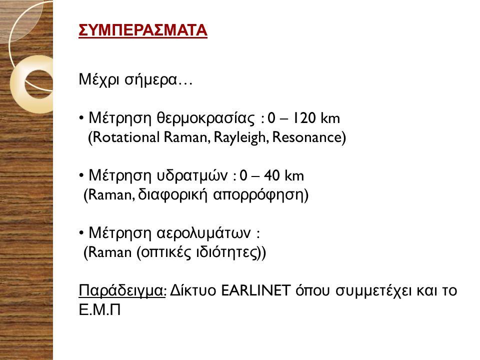 ΣΥΜΠΕΡΑΣΜΑΤΑ Μέχρι σήμερα… Μέτρηση θερμοκρασίας : 0 – 120 km. (Rotational Raman, Rayleigh, Resonance)
