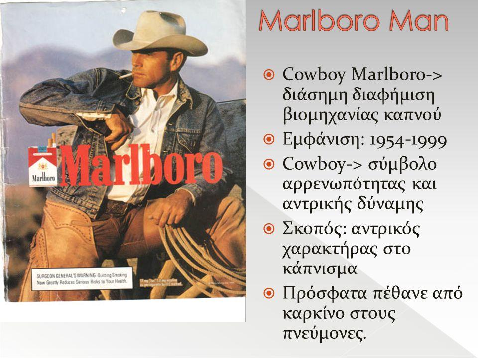 Marlboro Man Cowboy Marlboro-> διάσημη διαφήμιση βιομηχανίας καπνού