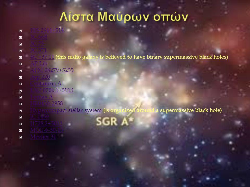 Λίστα Μαύρων οπών 1ES 2344+514 3C 66B 3C 75 3C 371