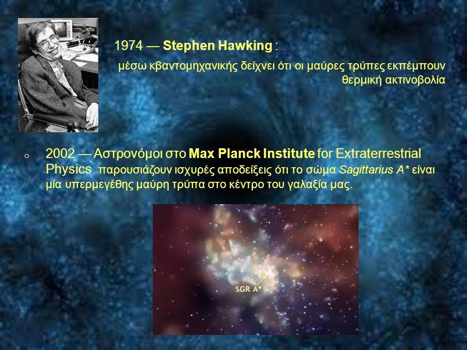 1974 — Stephen Hawking : μέσω κβαντομηχανικής δείχνει ότι οι μαύρες τρύπες εκπέμπουν θερμική ακτινοβολία.