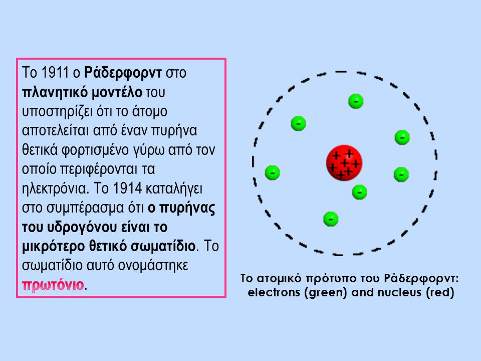 Το 1911 ο Ράδερφορντ στο πλανητικό μοντέλο του υποστηρίζει ότι το άτομο αποτελείται από έναν πυρήνα θετικά φορτισμένο γύρω από τον οποίο περιφέρονται τα ηλεκτρόνια. Το 1914 καταλήγει στο συμπέρασμα ότι ο πυρήνας του υδρογόνου είναι το μικρότερο θετικό σωματίδιο. Το σωματίδιο αυτό ονομάστηκε πρωτόνιο.
