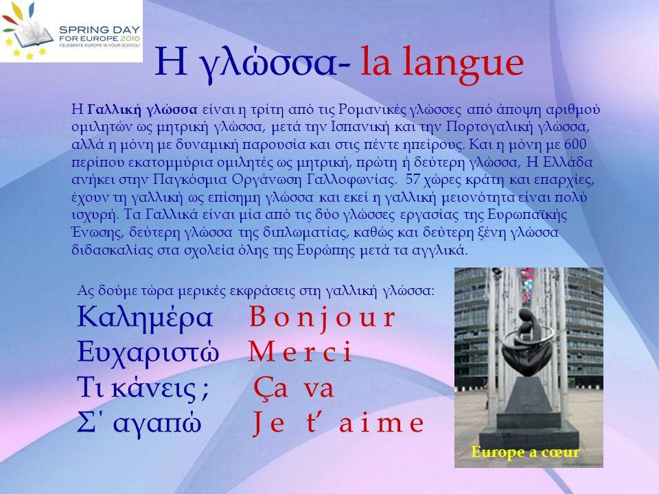 Η γλώσσα- la langue Καλημέρα B o n j o u r Ευχαριστώ M e r c i