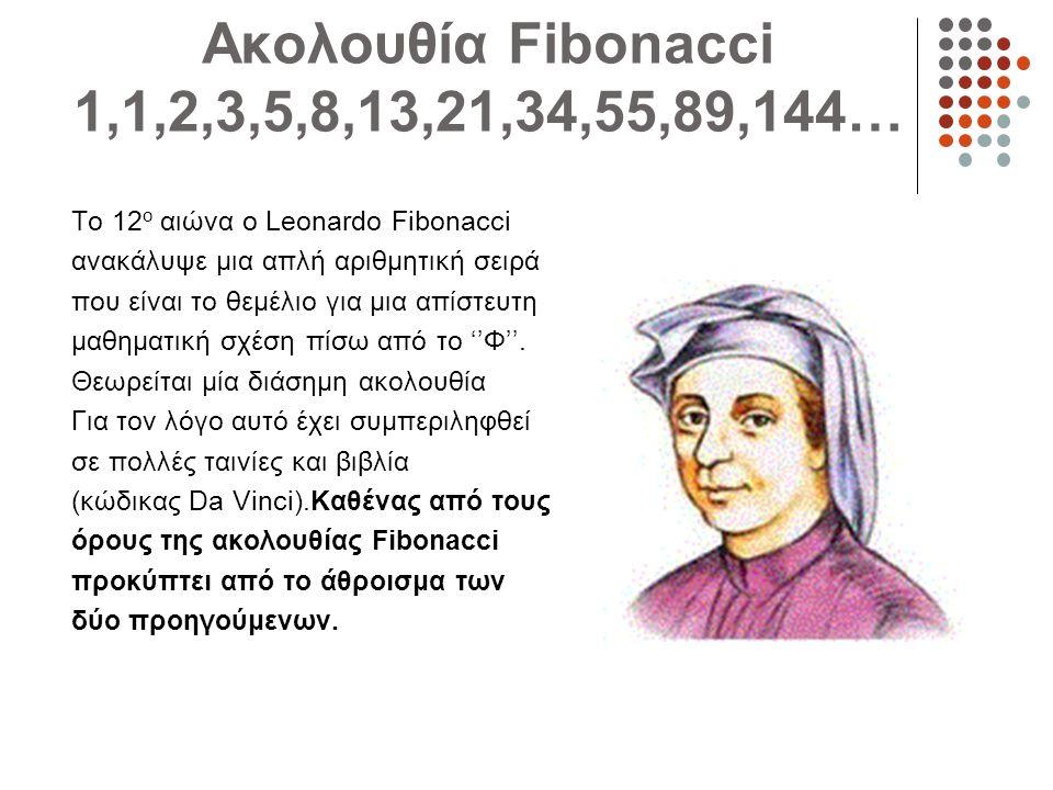 Ακολουθία Fibonacci 1,1,2,3,5,8,13,21,34,55,89,144… Το 12ο αιώνα ο Leonardo Fibonacci. ανακάλυψε μια απλή αριθμητική σειρά.