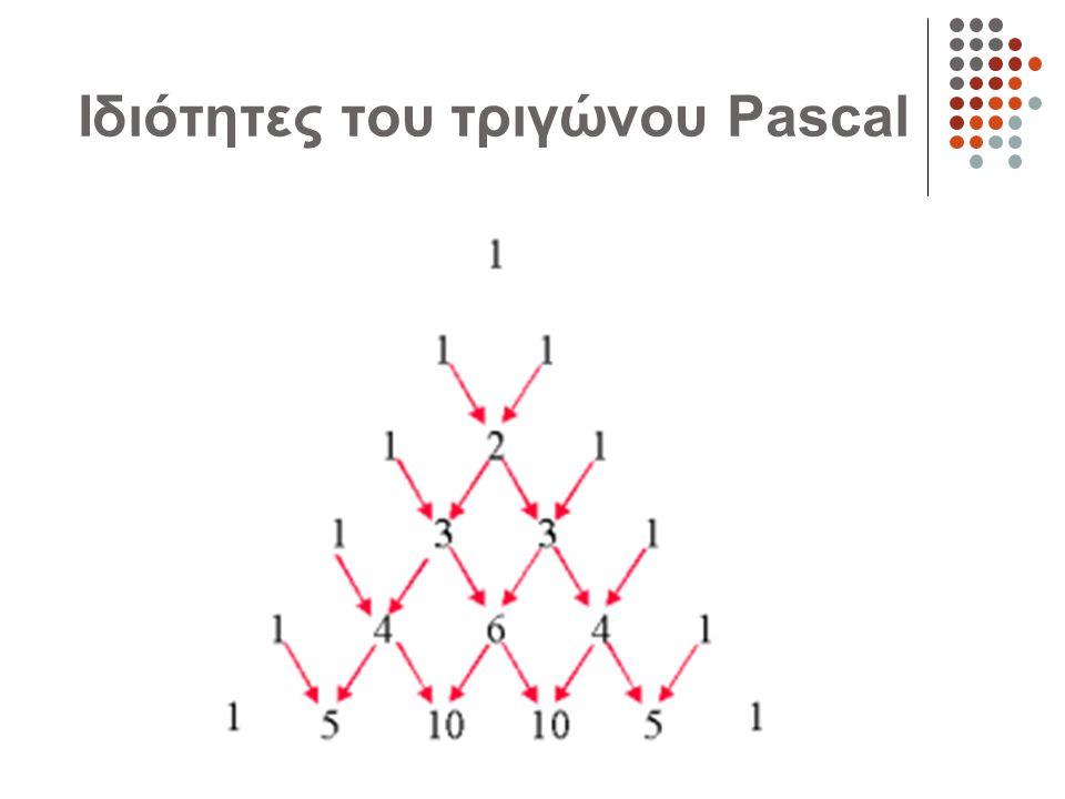 Ιδιότητες του τριγώνου Pascal