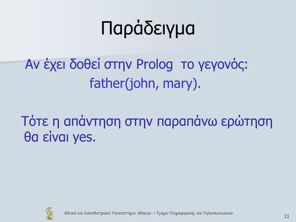 Παράδειγμα Αν έχει δοθεί στην Prolog το γεγονός: father(john, mary).