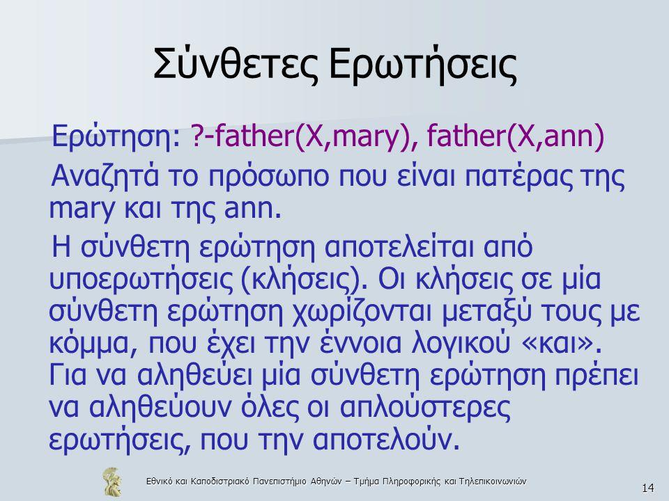 Σύνθετες Ερωτήσεις Ερώτηση: -father(X,mary), father(X,ann)