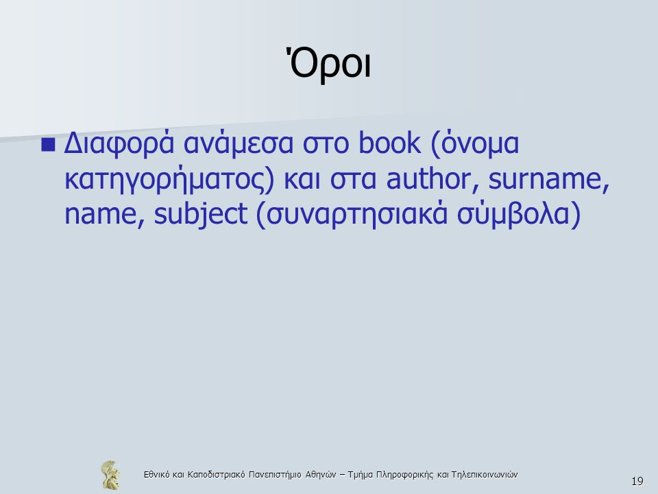 Όροι Διαφορά ανάμεσα στο book (όνομα κατηγορήματος) και στα author, surname, name, subject (συναρτησιακά σύμβολα)