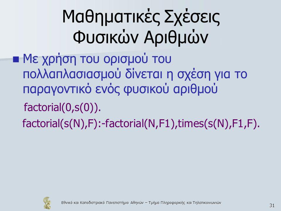 Μαθηματικές Σχέσεις Φυσικών Αριθμών