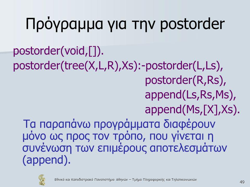 Πρόγραμμα για την postorder