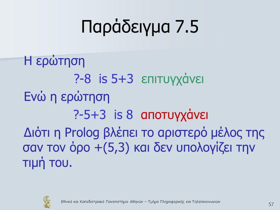 Παράδειγμα 7.5 Η ερώτηση -8 is 5+3 επιτυγχάνει Ενώ η ερώτηση