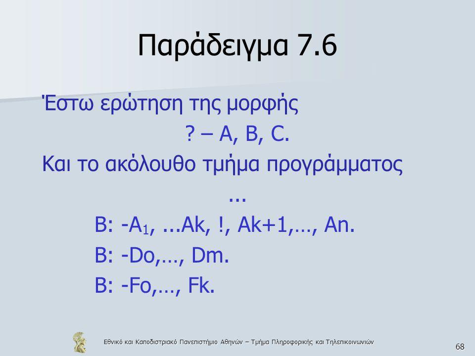 Παράδειγμα 7.6 Έστω ερώτηση της μορφής – A, B, C.
