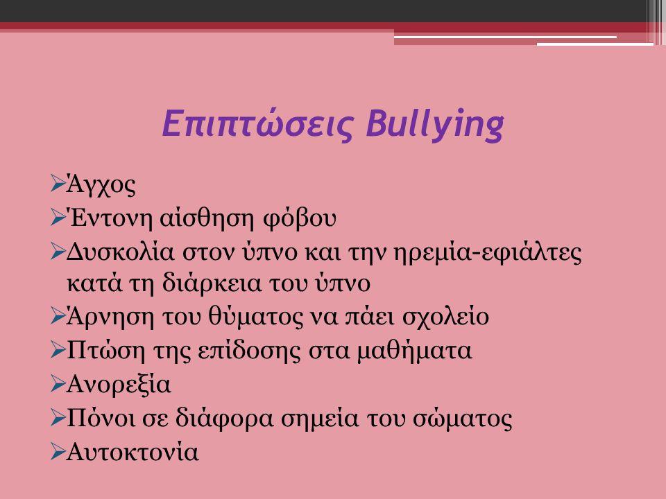 Επιπτώσεις Bullying Άγχος Έντονη αίσθηση φόβου