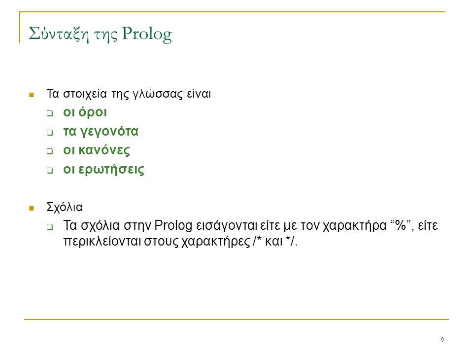 Σύνταξη της Prolog οι όροι τα γεγονότα οι κανόνες οι ερωτήσεις