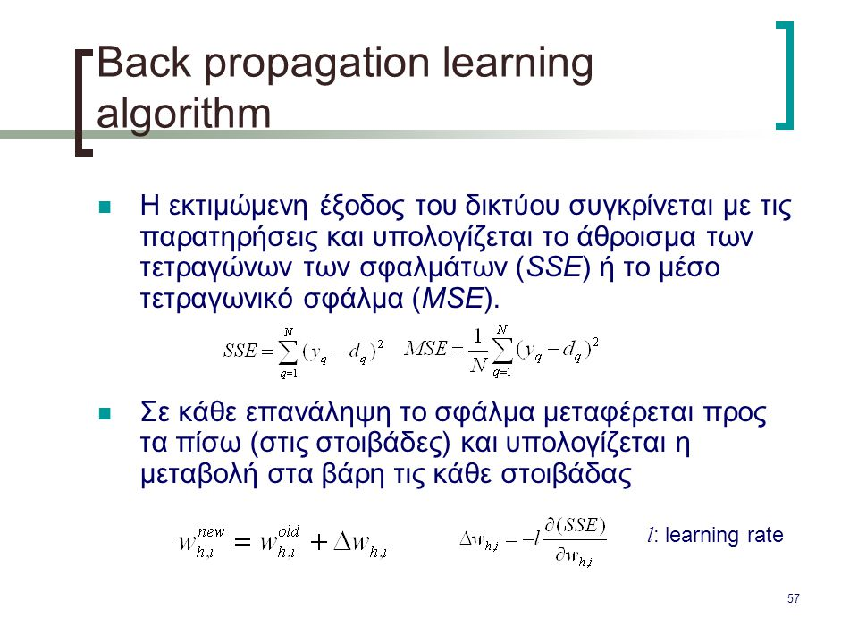 Βack propagation learning algorithm