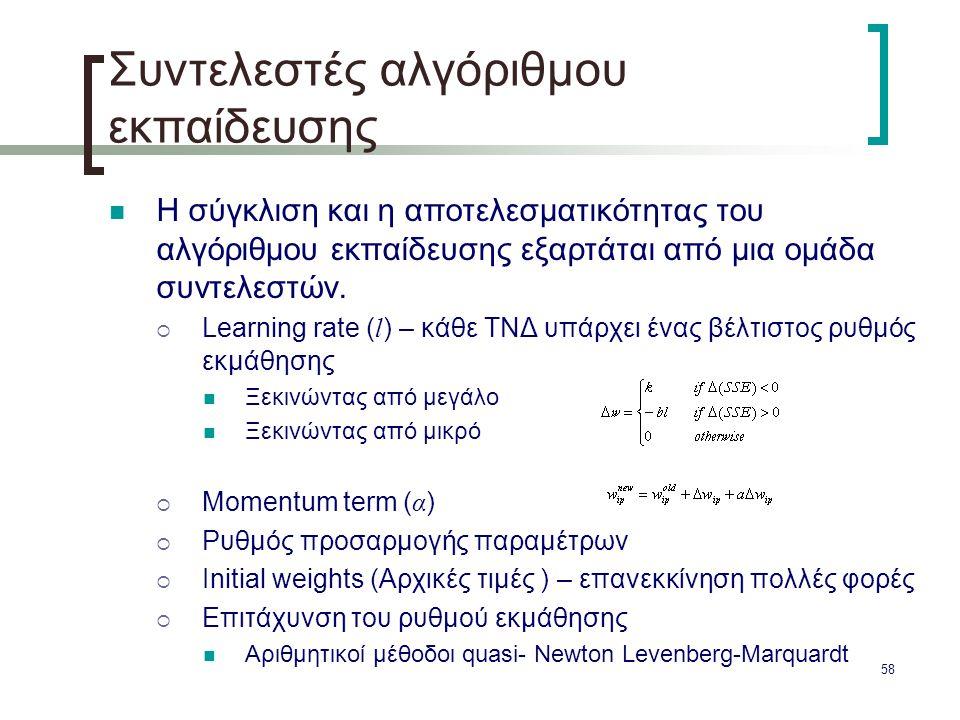 Συντελεστές αλγόριθμου εκπαίδευσης