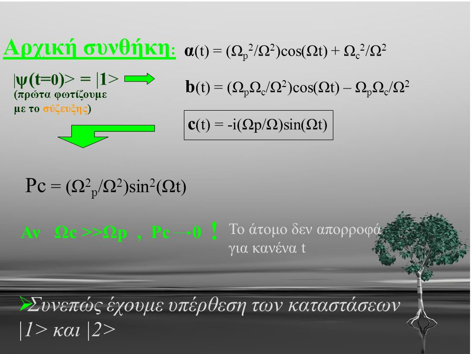 ! Αρχική συνθήκη: Pc = (Ω2p/Ω2)sin2(Ωt)