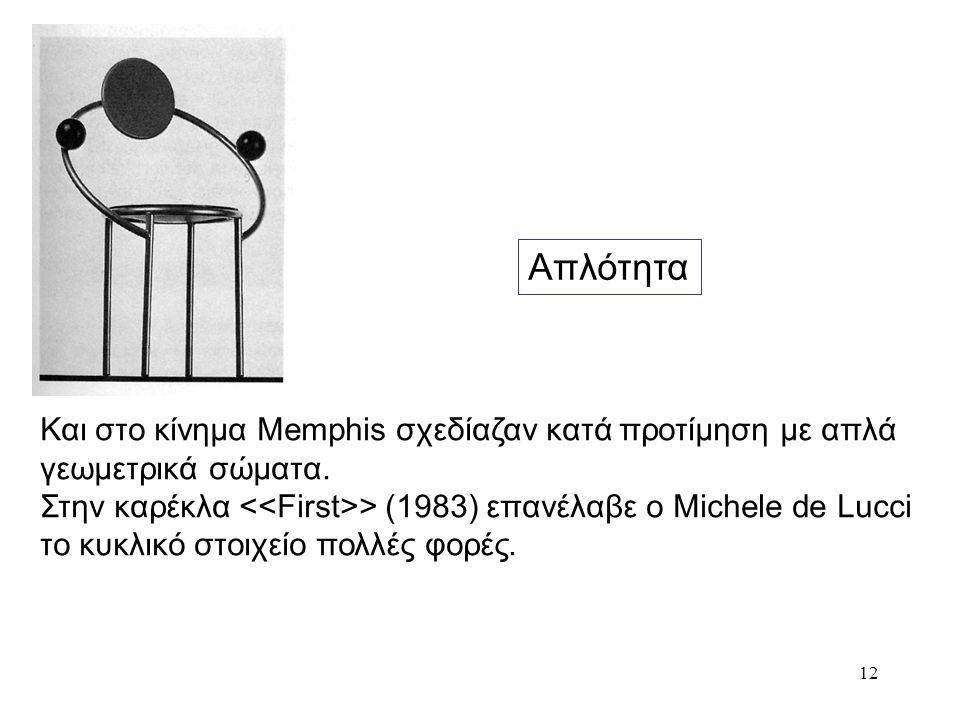 Απλότητα Και στο κίνημα Memphis σχεδίαζαν κατά προτίμηση με απλά