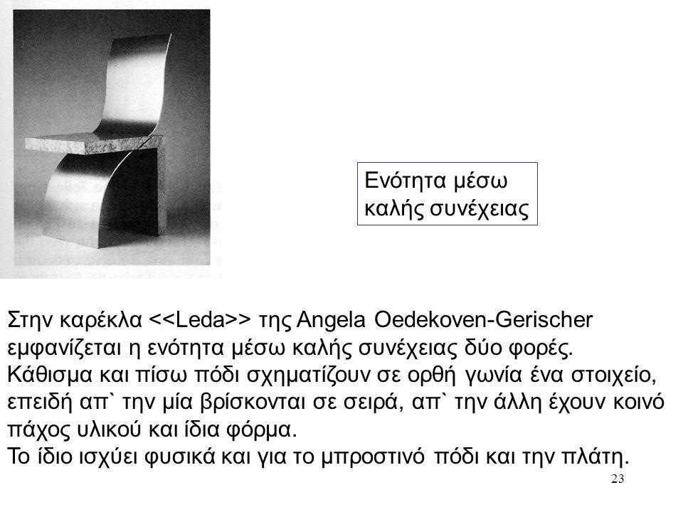 Ενότητα μέσω καλής συνέχειας. Στην καρέκλα <<Leda>> της Angela Oedekoven-Gerischer εμφανίζεται η ενότητα μέσω καλής συνέχειας δύο φορές.