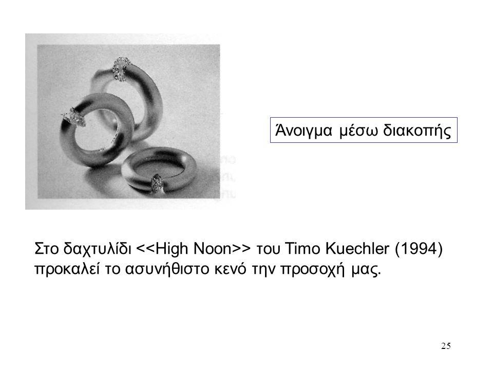 Άνοιγμα μέσω διακοπής Στο δαχτυλίδι <<High Noon>> του Timo Kuechler (1994) προκαλεί το ασυνήθιστο κενό την προσοχή μας.