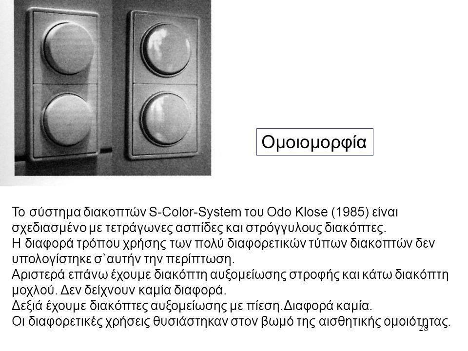 Ομοιομορφία Το σύστημα διακοπτών S-Color-System του Odo Klose (1985) είναι. σχεδιασμένο με τετράγωνες ασπίδες και στρόγγυλους διακόπτες.