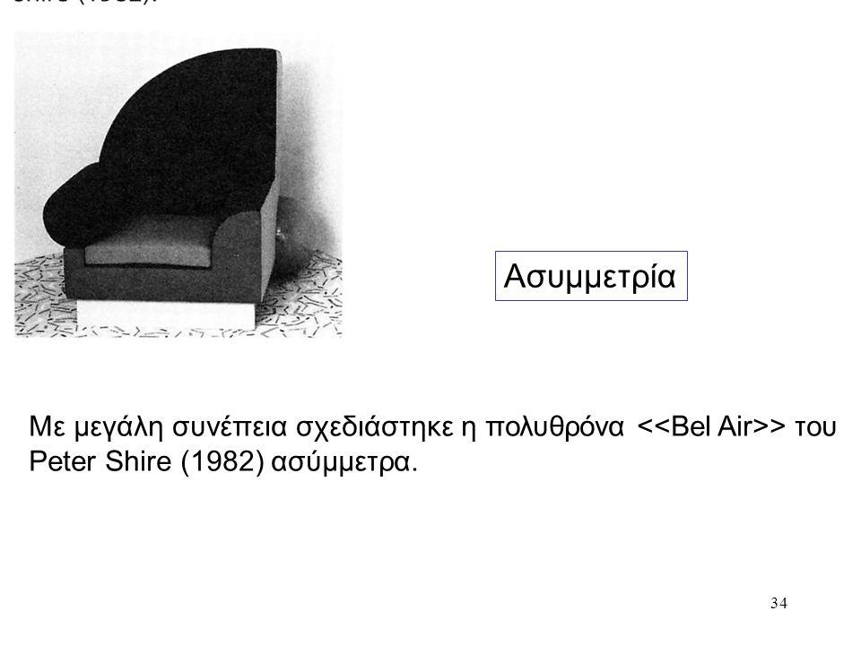 Ασυμμετρία Με μεγάλη συνέπεια σχεδιάστηκε η πολυθρόνα <<Bel Air>> του Peter Shire (1982) ασύμμετρα.