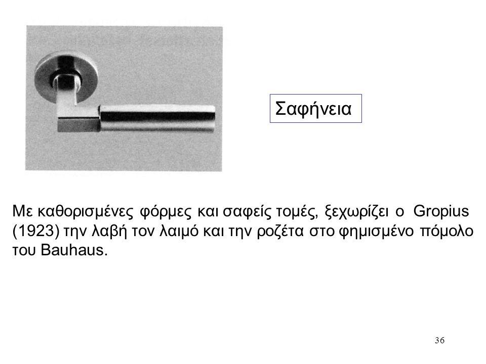 Σαφήνεια Με καθορισμένες φόρμες και σαφείς τομές, ξεχωρίζει ο Gropius (1923) την λαβή τον λαιμό και την ροζέτα στο φημισμένο πόμολο του Bauhaus.