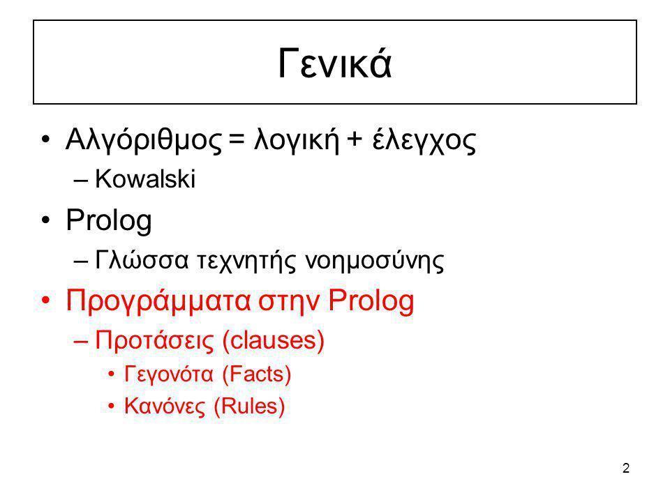 Γενικά Αλγόριθμος = λογική + έλεγχος Prolog Προγράμματα στην Prolog