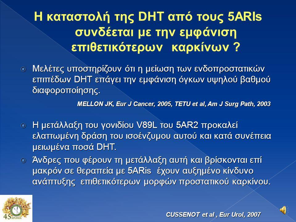 Η καταστολή της DHT από τους 5ARIs συνδέεται με την εμφάνιση επιθετικότερων καρκίνων