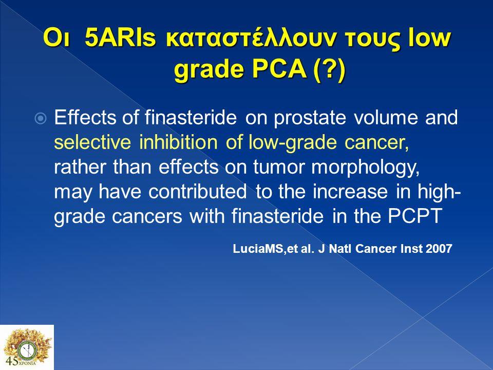Οι 5ARIs καταστέλλουν τoυς low grade PCA ( )