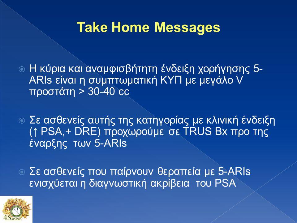 Take Home Messages Η κύρια και αναμφισβήτητη ένδειξη χορήγησης 5-ARIs είναι η συμπτωματική ΚΥΠ με μεγάλο V προστάτη > 30-40 cc.