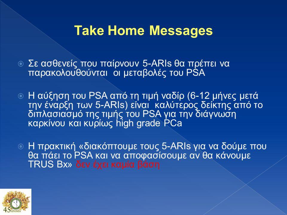 Take Home Messages Σε ασθενείς που παίρνουν 5-ARIs θα πρέπει να παρακολουθούνται οι μεταβολές του PSA.