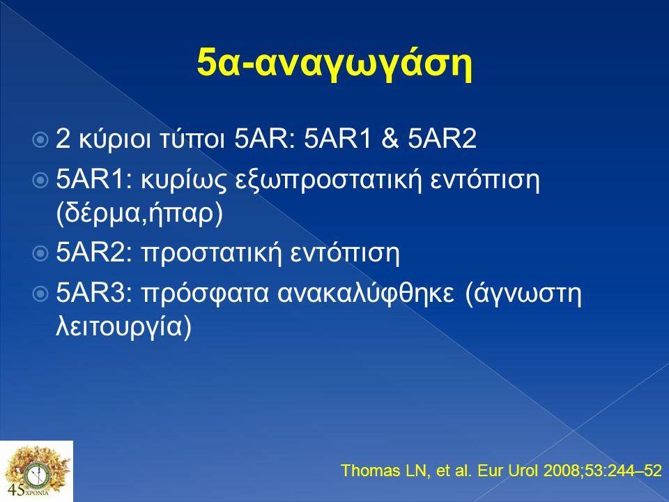 5α-αναγωγάση 2 κύριοι τύποι 5AR: 5AR1 & 5AR2