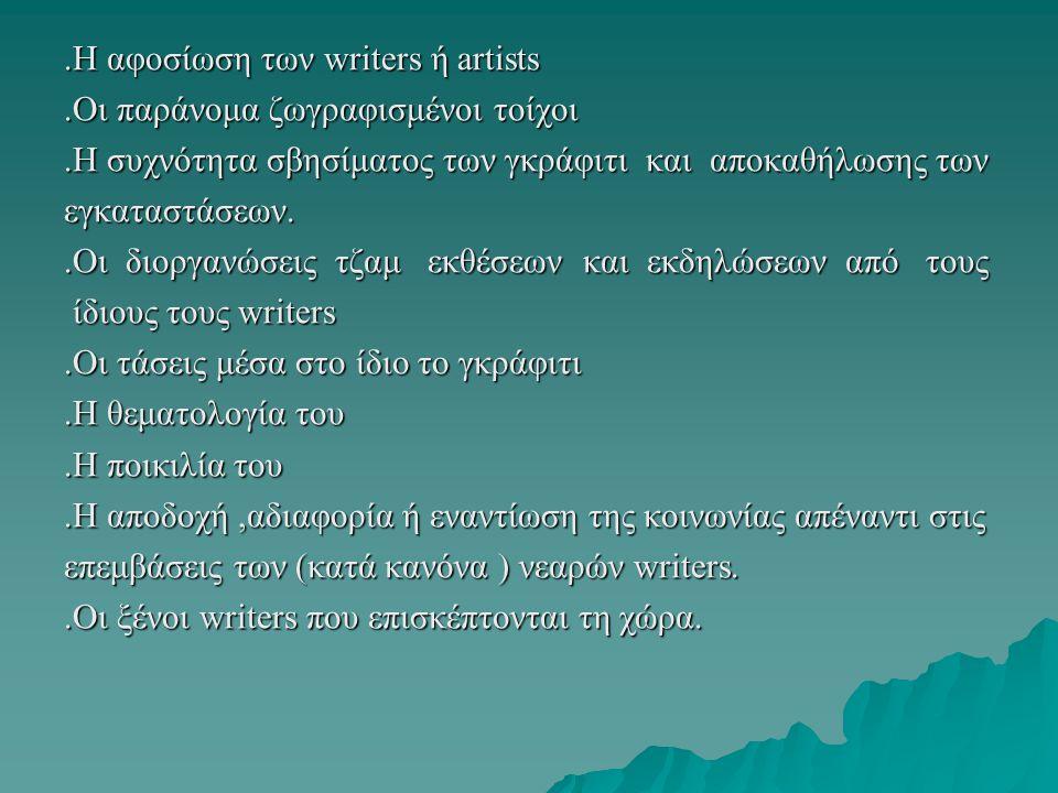 .Η αφοσίωση των writers ή artists