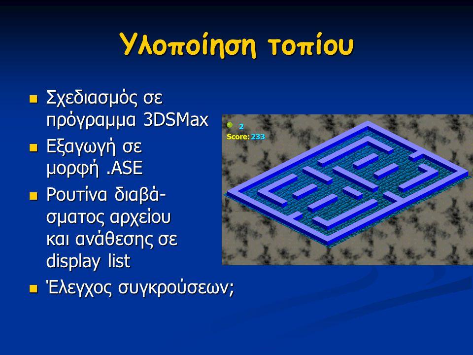 Υλοποίηση τοπίου Σχεδιασμός σε πρόγραμμα 3DSMax Εξαγωγή σε μορφή .ASE