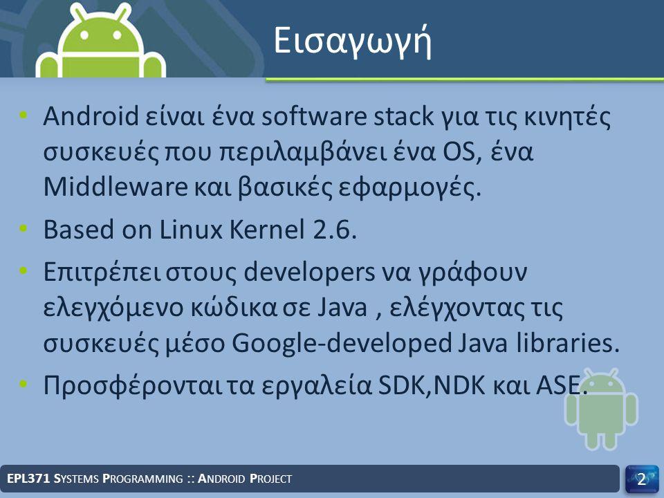 Εισαγωγή Android είναι ένα software stack για τις κινητές συσκευές που περιλαμβάνει ένα OS, ένα Middleware και βασικές εφαρμογές.