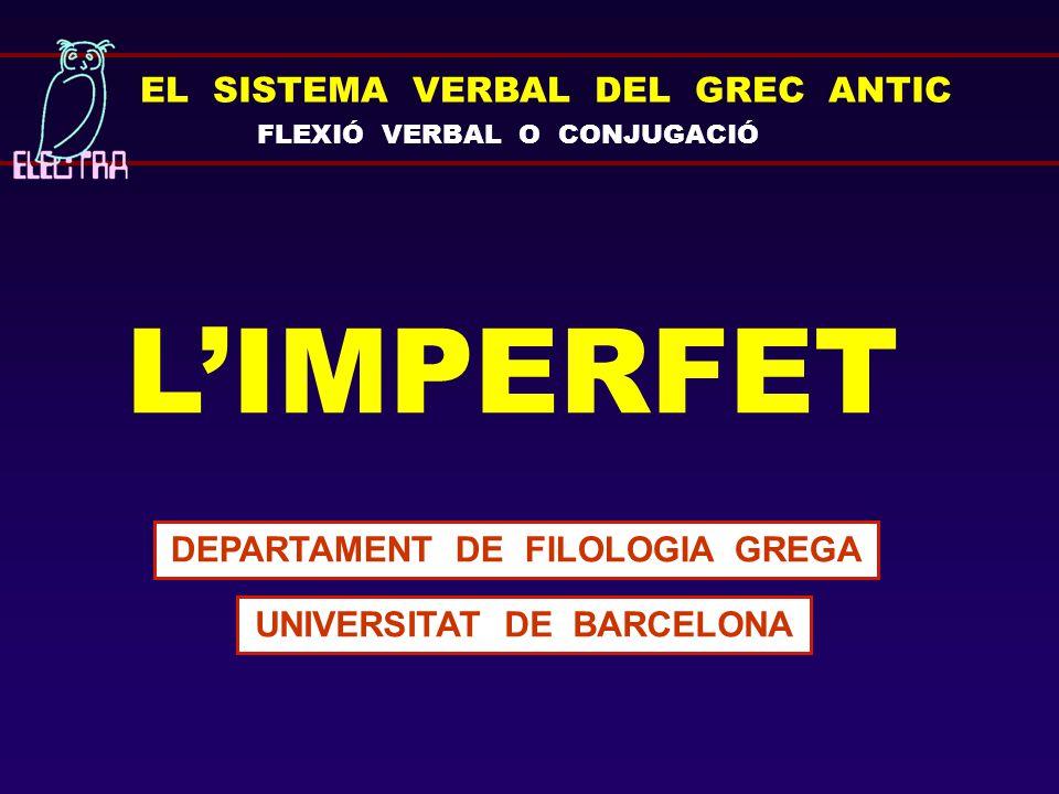 DEPARTAMENT DE FILOLOGIA GREGA UNIVERSITAT DE BARCELONA