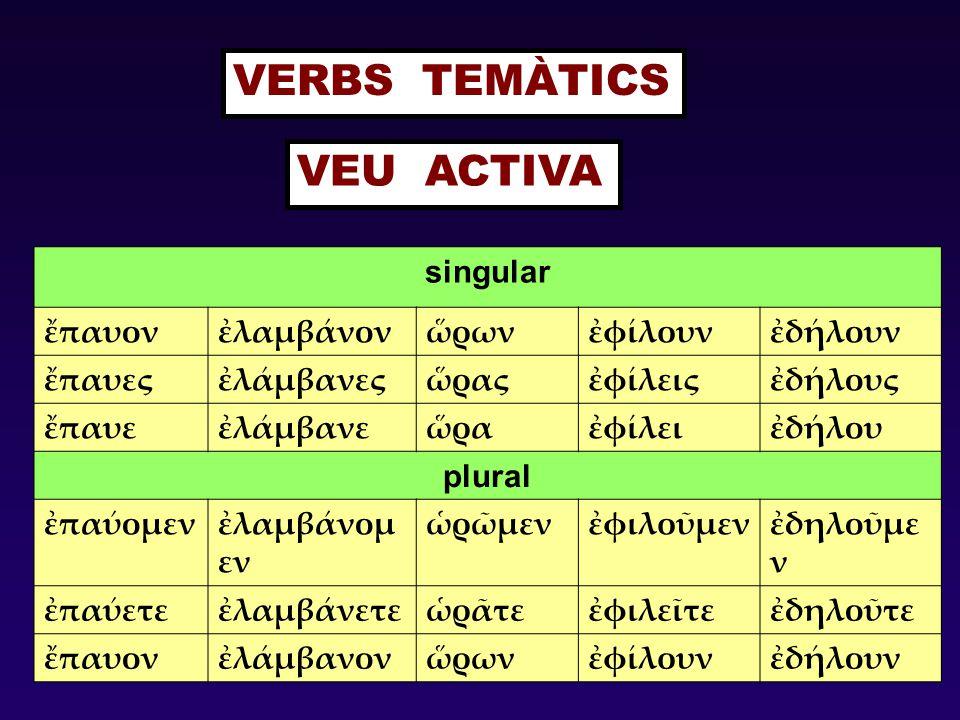 VERBS TEMÀTICS VEU ACTIVA singular ἔπαυον ἐλαμβάνον ὥρων ἐφίλουν