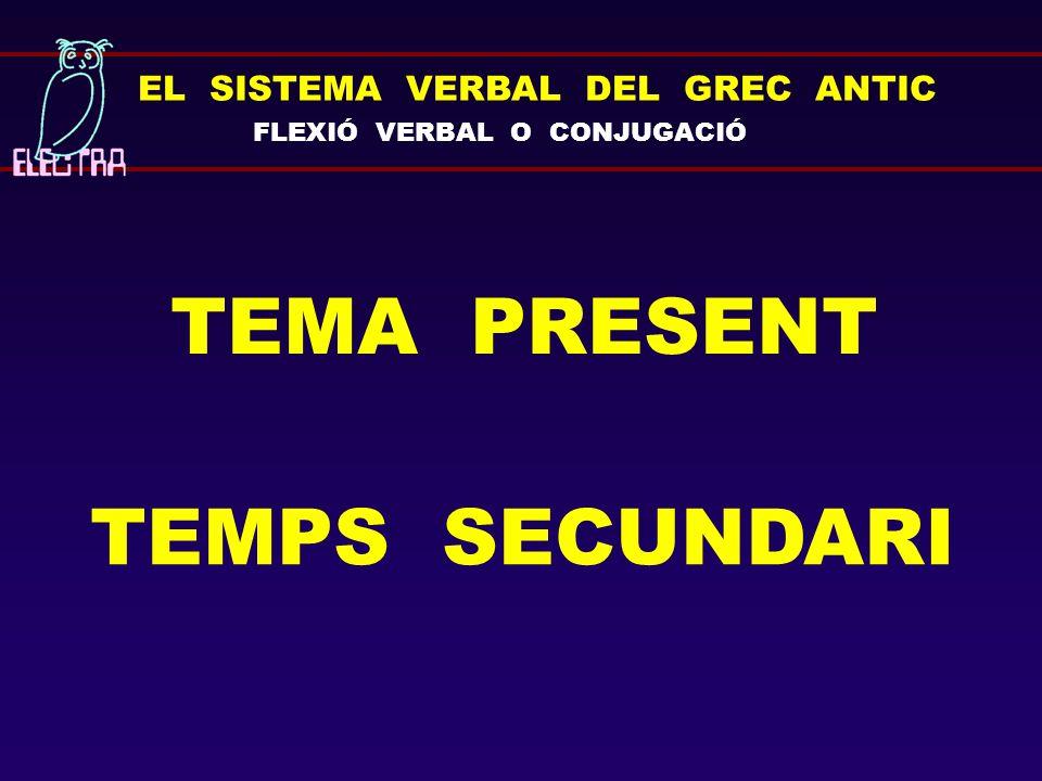 TEMA PRESENT TEMPS SECUNDARI EL SISTEMA VERBAL DEL GREC ANTIC
