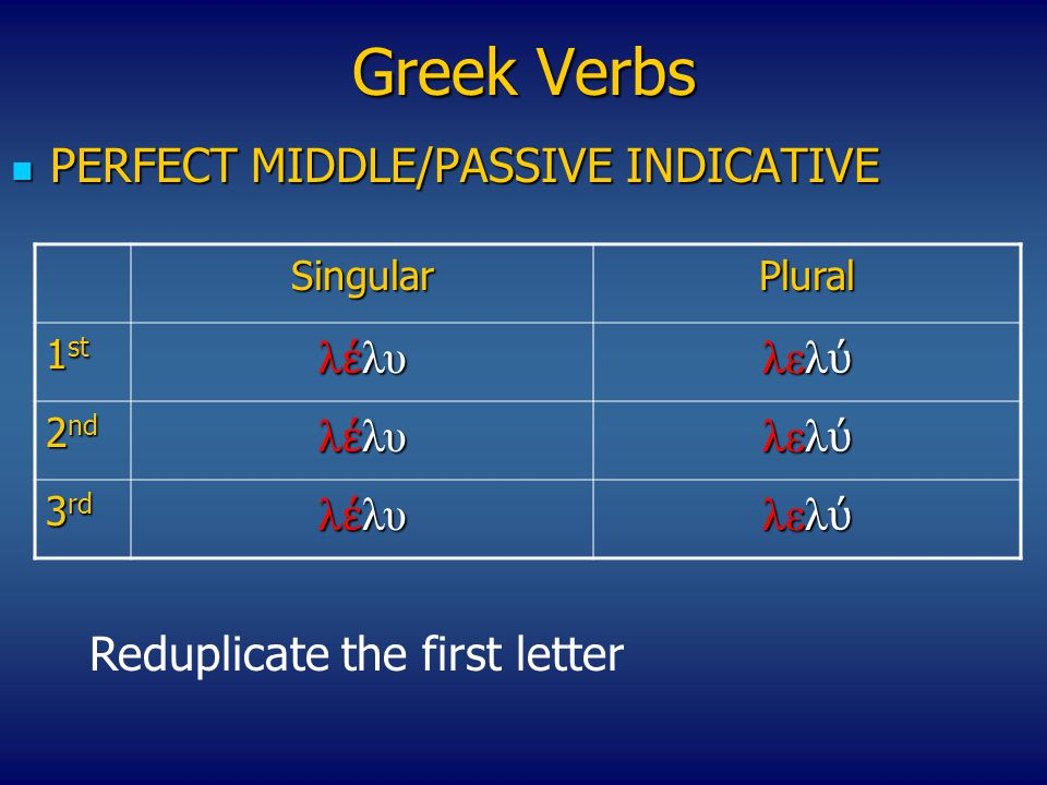 Greek Verbs PERFECT MIDDLE/PASSIVE INDICATIVE λέλυ λελύ