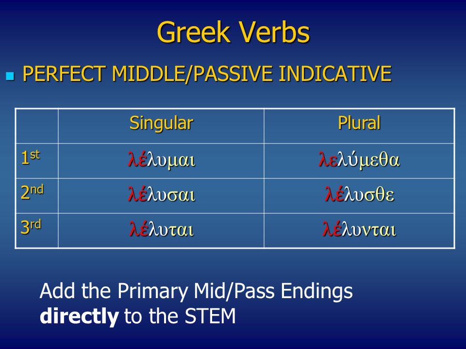 Greek Verbs PERFECT MIDDLE/PASSIVE INDICATIVE λέλυμαι λελύμεθα λέλυσαι