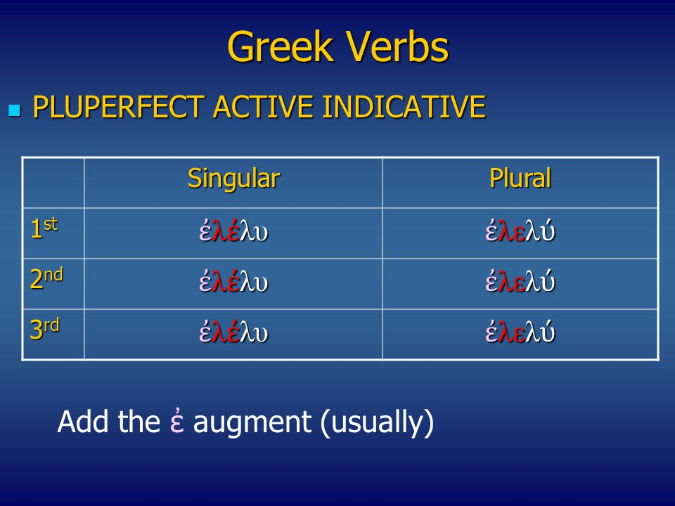 Greek Verbs PLUPERFECT ACTIVE INDICATIVE ἐλέλυ ἐλελύ