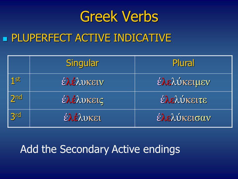 Greek Verbs PLUPERFECT ACTIVE INDICATIVE ἐλέλυκειν ἐλελύκειμεν