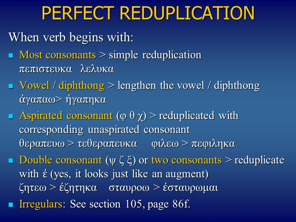 PERFECT REDUPLICATION