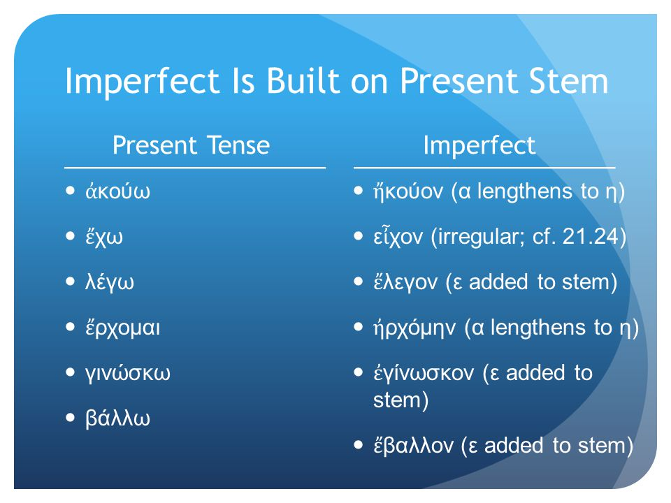 Imperfect Is Built on Present Stem