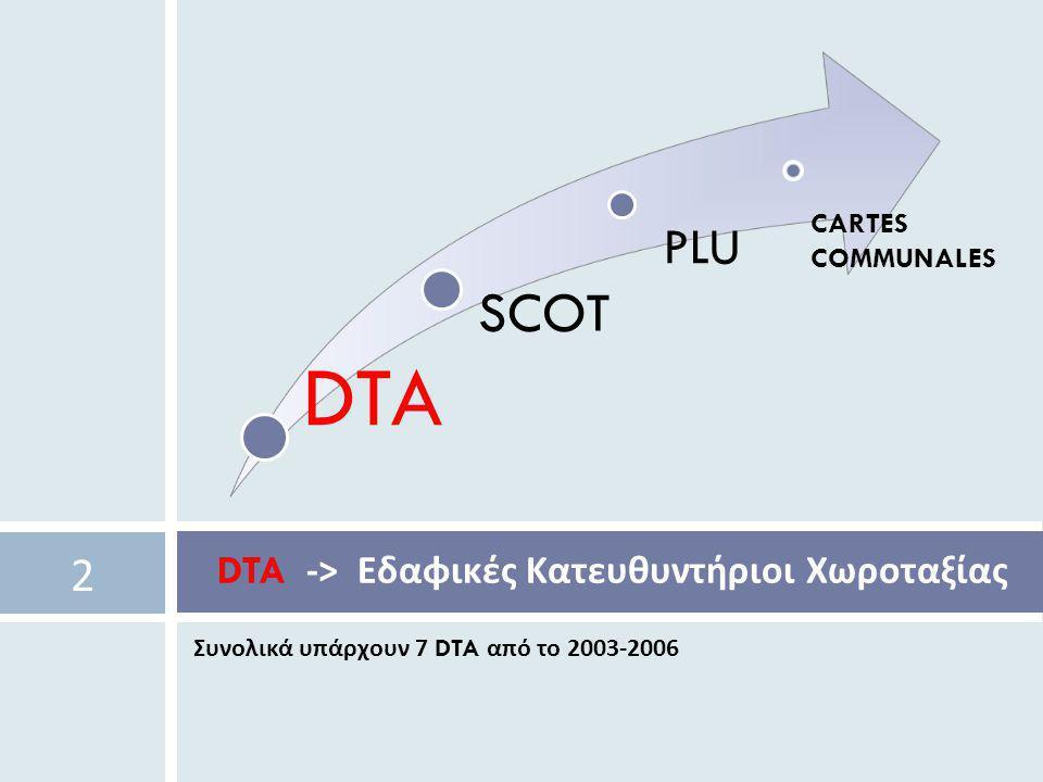DTA -> Εδαφικές Κατευθυντήριοι Χωροταξίας
